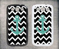 Samsung Galaxy S4 case, Samsung Galaxy S3 case,black and white ,Samsung Galaxy I9300/ I9500 case, ,personalized,Anchor, Sparkle Glitter $9.98