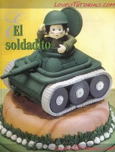"""modeling """"tank with a soldier""""-Tutorial-gumpaste tank with a soldier"""