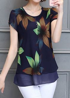Printed Layered Petal Sleeve Navy Blue Blouse Ladies Tops - Buy through the huge collection of Tops Womens Trendy Tops, Stylish Tops, Shirt Bluse, Over 50 Womens Fashion, Cheap Fashion, Dress Patterns, Blouse Designs, Blouses For Women, Discount Designer Clothes