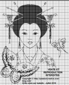 Grille gratuite point de croix : Asie - Femme monochrome