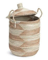 Large Lidded Seagrass Storage Basket Home T J Maxx Seagrass
