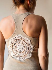 Cut hole in tank top or other garment and sew crochet doilie over for clothing redesign; upcycle, recycle, salvage, diy, repurpose!