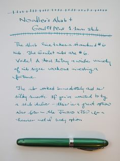 Review: Noodler's Ahab with Goulet Pens 1.1mm Italic Stub Nib by The Well-Appointed Desk