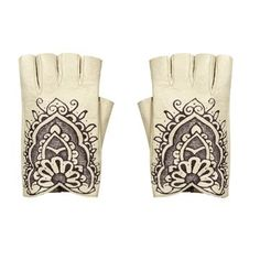 Chanel Chanel black and white leather fingerless gloves