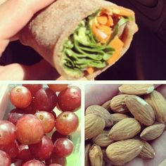 Homemade whole wheat tortilla filled with avocado, spinach, onions, and carrots. Side of almonds and grapes.