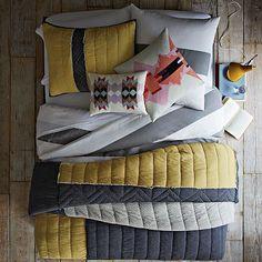 Layered Bed Looks - Sunbursts. I want this whole set up please!  #WestElm