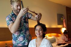 Bride getting her hair done by the @stylingtrio team in Cancun, Mexico. Jonathan Cossu Photographer