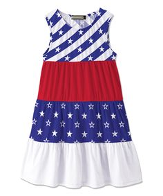 Blue & White Starry Stripe Ruffle Pattern Block Dress - Toddler & Girls