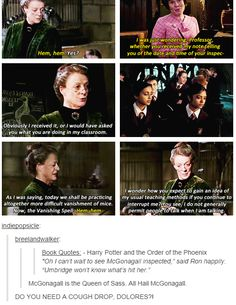 Minerva McGonagall, Queen of Sass -- Harry Potter and The Order of the Phoenix -- Dolores Umbridge -- funny Harry Potter Universal, Harry Potter Fandom, Harry Potter Memes, Harry Potter World, Sassy Harry Potter, Harry Potter Theories, Golden Trio, Must Be A Weasley, Fangirl
