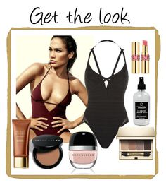 Get the look by sarks on Polyvore featuring polyvore, fashion, style, Hervé Léger, Clarins, Bobbi Brown Cosmetics, Yves Saint Laurent, Marc Jacobs, Little Barn Apothecary, Jennifer Lopez and clothing