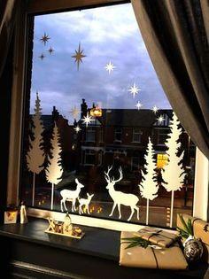 Whimsical Christmas, Simple Christmas, Christmas Home, Christmas Crafts, Modern Christmas, Christmas Window Decorations, Christmas Window Display Home, Window Christmas Lights, Winter Window Display