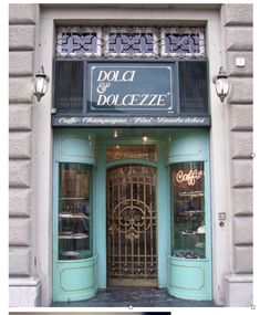 my favorite bakery in Italy. Like a jewel box. minty/seafoam and gold. black and white checkerboard flooring. Moving To Italy, Flourless Chocolate Cakes, Shop Fronts, Jewel Box, Where To Go, Vintage Shops, Facade, Bakery, Flooring