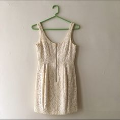 H&M Lace Mini Dress -Super cute cream lace mini dress. Zips up at front. Lined. Size tagged 4. Note: H&M size runs small in this style. Would fit an H&M 2 or a 0 in other brands. H&M Dresses Mini