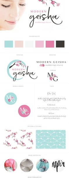 brand board for Modern Geisha, feminine branding, luxury branding, luxury brand styling and web design for female entrepreneurs. feminine branding, brand style guide, logo design, submark, brand elements, brush script font, serif, brown, pink, blush, tiffany blue color palette, feminine business, cherry blossom flowers, femininity, FLORAL pattern, business owner, blogger. See more for mood board, social media branding, print materials and website design.