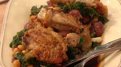 Richard Blais' Chicken Thighs with Chick Peas & Kale #whatsfordinner #chicken #kale
