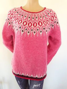 Ravelry: Project Gallery for Telja pattern by Jennifer Steingass Ravelry: Project Gallery for Telja pattern by Jennifer Steingass Fair Isle Knitting Patterns, Fair Isle Pattern, Knit Patterns, Lace Knitting, Knit Crochet, Norwegian Knitting, Icelandic Sweaters, Ravelry, Christmas Knitting
