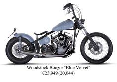 "Woodstock Boogie ""Blue Velvet"" - Price: €23,949 (£20,044).    http://headbangermotorcycles.com/moto/woodstock-boogie.html"
