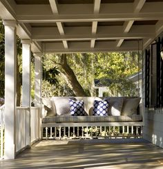 Traditional Porch Swing Design, Pictures, Remodel, Decor and Ideas Outdoor Spaces, Outdoor Living, Outdoor Decor, Outdoor Ideas, Traditional Porch, Traditional Tile, Traditional Exterior, Porch Ceiling, Ceiling Trim
