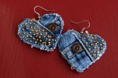 Earring - Heart-Shaped, Recycled Lucky Brand Denim - Hand-Beaded - Upcycled by daringmisslassiter on Etsy Denim Bracelet, Denim Earrings, Jean Crafts, Denim Crafts, Jewelry Case, Fabric Jewelry, Jewelry Watches, Fine Jewelry, Jewellery