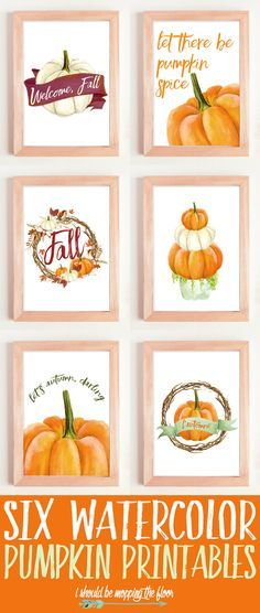 These Six Watercolor Pumpkin Printables are perfect for your fall decor.perfect for all of the pumpkin lovers out there! Fun Diy Crafts, Fall Crafts, Pumpkin Crafts, Paper Crafts, Pumpkin Printable, Fall Projects, Do It Yourself Crafts, Posca, Fall Diy
