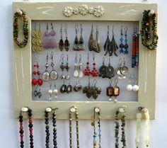 Jewelry Organizer Holder Cottage Shabby Pale Jade Mason Jar Crystal