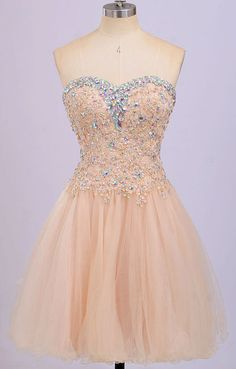 Back Up Lace Beaded Blush Pink Sweetheart Homecoming Dresses WF01-692