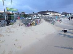 Sand has been blown on to the promenade at Bondi Beach after the storm last night at 5/6/12