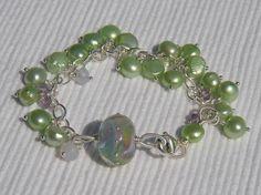 Artisan Glass Bracelet Sterling Silver Amethyst by CloverBlueToo, $50.00