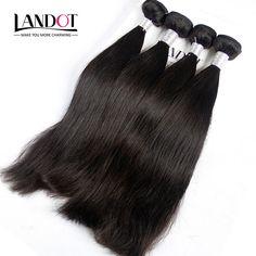 Brésilienne Vierge Cheveux Raides 100% Non Transformés de Cheveux Humains Weave Bundles Souple Épais 8A Grade Extensions de Cheveux Brésiliens 4 Pcs Lot