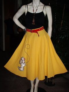 Vtg 50's 60's Poodle Dog CUTE Summer Skirt  Daffodil Yellow Cotton Blend Flared