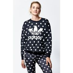 Adidas Dots Print Crew Neck Sweatshirt ($55) ❤ liked on Polyvore featuring tops, hoodies, sweatshirts, adidas, sweat shirts, crew neck pullover, pullover crew neck sweatshirts e adidas sweatshirt