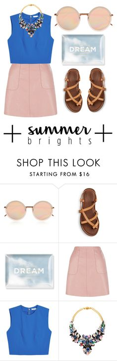 """""""Hurt my eyes"""" by nnaja ❤ liked on Polyvore featuring Linda Farrow, Fringe, New Look, Alice + Olivia, Shourouk, Blue, croptop, sandals, sunnies and summerbrights"""