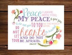 John 14:27  Scripture Art  Peace Verse  by OhMySoulDesign on Etsy