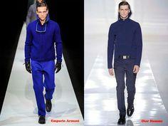 Tendencias hombre otoño/invierno 13/14 color azul: Emporio Armani y Dior Homme.