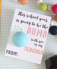 Give teachers a little something fun for the first day of school with this free printable back to school EOS teacher gift idea. This year is going to be the bomb. EOS teacher gift