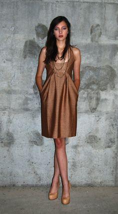 brown tweed racerback dress