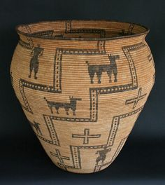 Apache Pictorial Basket			Large olla form with human and animal motifs with geometric designs, 19th century