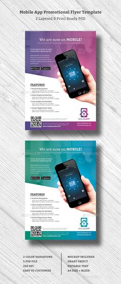 Buy Mobile App Promotional Flyer by graphix_shiv on GraphicRiver. Mobile App Promotional Flyer – Features Creative and Minimalist flyer, perfect for any personal or corporate use. App Marketing, Marketing Flyers, Android App Design, Mobile App Design, Promotional Flyers, Promotional Design, Brochure Design, Flyer Design, Brochure Ideas