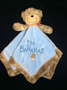 Carters I'm Bananas Monkey Baby Security Blanket Blue Rattle Lovey #Carters