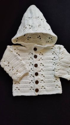 White 0-3 Month Crocheted Hooded Sweater Jacket, Button up Sweater, Baby Jacket, Crochet Baby Hoody, Baby Shower Gift, Infant Hooded Sweater by KimsCreations61 on Etsy
