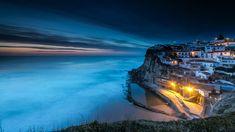 Wallpaper Sintra Portugal Azenhas do Mar Cliff Coast night time Street lights Cities Building 2560x1440 Rock Crag Night Houses