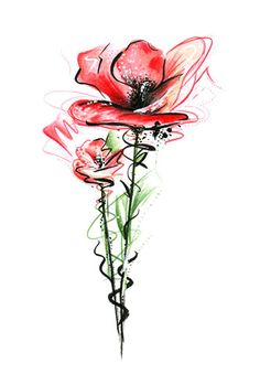 Watercolor Flowers Tutorial, Easy Watercolor, Watercolour Painting, Watercolor Paintings For Beginners, Watercolor Pictures, Family Tattoo Designs, Mickey Mouse Art, Poppies Tattoo, Tableau Design