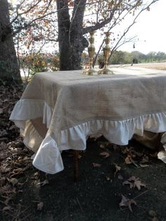 RESERVED Burlap Tablecloth Ruffled Wedding Table by misshettie, $125.00