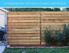 Love this wood fencing turned on its side. Modern Solution to ugly fencing. How To: A Smart Solution for Covering an Ugly, Existing Chain Link Fence Curbly | DIY Design Community