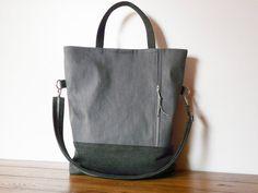 Grey Tote bag Modern Cross body Messenger hand strap by SKmodell