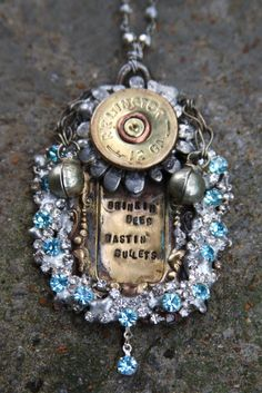 Drink'n beer and Wast'n Bullets one of a kind shotgun shell bling necklace
