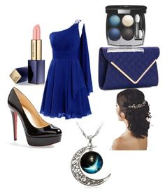 """Black and blue"" by vmanning on Polyvore featuring Christian Louboutin, Urban Expressions, Chanel and Estée Lauder"