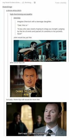 """I don't ship Johnlock, but this is so cute. It would be more like Sherlock comes over and he's just like """"Duh"""" and Mary's like """"Hahaha Not sure how much I believe you"""" and the rest is accurate.<<< oh hon it's only John and Sherlock now 😭😭 Sherlock Bbc, Sherlock Fandom, Watson Sherlock, Jim Moriarty, Sherlock Quotes, Sherlock Season, Funny Sherlock, Sherlock Tumblr, Martin Freeman"""