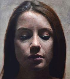 Eloy Morales (Spanish, b. 1973), oil on panel {figurative realism art beautiful female head #hyperreal woman face portrait painting #loveart} eloymorales.es