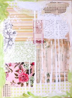 Working on a new mixed media collage artwork.  Old vintage floral wallpaper, sheet music, old calendar pages and lovely drips and splotches of paint - love my Jo Sonja's acrylics!